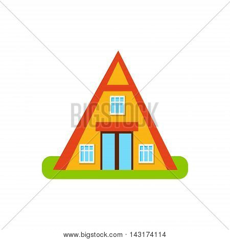 Pyramid Shaped Suburban House Exterior Design Primitive Geometric Flat Vector Drawing Isolated On White Background