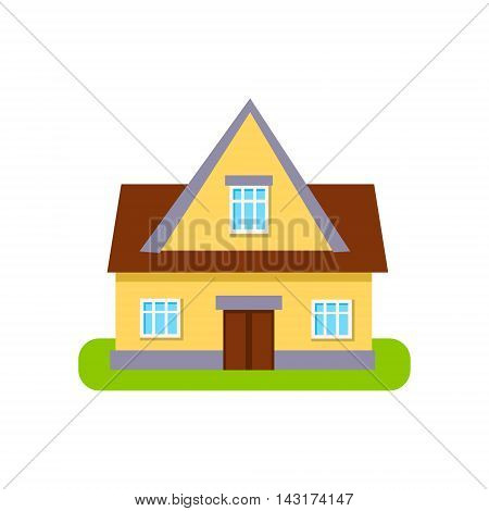 Classic Cottage Suburban House Exterior Design Primitive Geometric Flat Vector Drawing Isolated On White Background