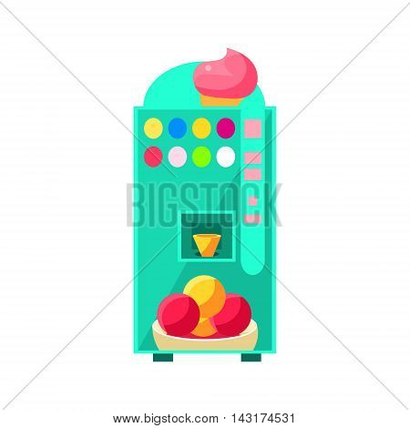 Ice-cream Vending Machine Design In Primitive Bright Cartoon Flat Vector Style Isolated On White Background