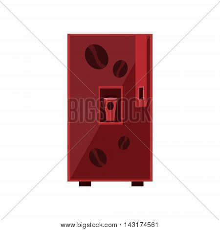 Coffee Vending Machine Design In Primitive Bright Cartoon Flat Vector Style Isolated On White Background