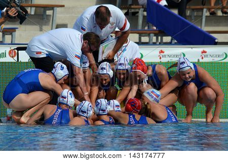 Budapest, Hungary - Jul 16, 2014. Russian battle-cry. The Waterpolo European Championship was held in Alfred Hajos Swimming Centre in 2014.