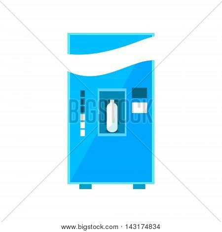 Milk Vending Machine Design In Primitive Bright Cartoon Flat Vector Style Isolated On White Background