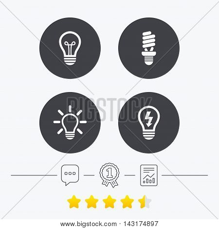 Light lamp icons. Fluorescent lamp bulb symbols. Energy saving. Idea and success sign. Chat, award medal and report linear icons. Star vote ranking. Vector