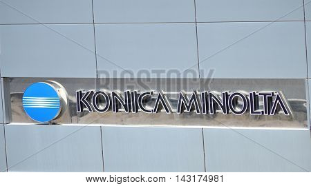 CIRCA AUGUST 2016 - GDANSK:  Logo of Konica Minolta. Konica Minolta is Japanese technology company headquartered in Tokyo with offices in 49 countries worldwide.