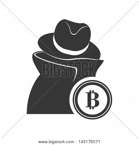 thief bitcoin money financial commerce icon. Flat and Isolated design. Vector illustration