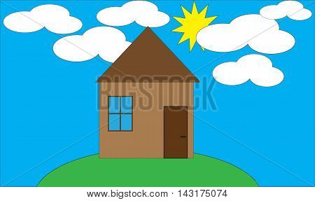 Brown house on a green lawn on the blue background, a sun in the sky slightly covered with clouds. Can be used to illustrate a children's book