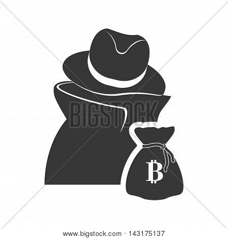 thief money bag financial commerce icon. Flat and Isolated design. Vector illustration