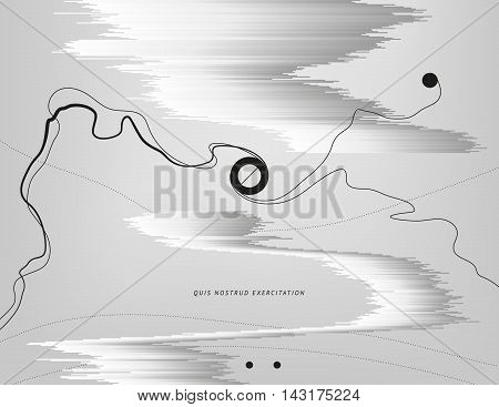 Monochrome abstract illustration. Glitched metallic structures with flowing ink ribbons and round geometric shapes. Element of design for poster cover invitation business card postcard or web.