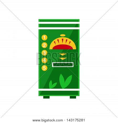Hot Drinks Vending Machine Design In Primitive Bright Cartoon Flat Vector Style Isolated On White Background