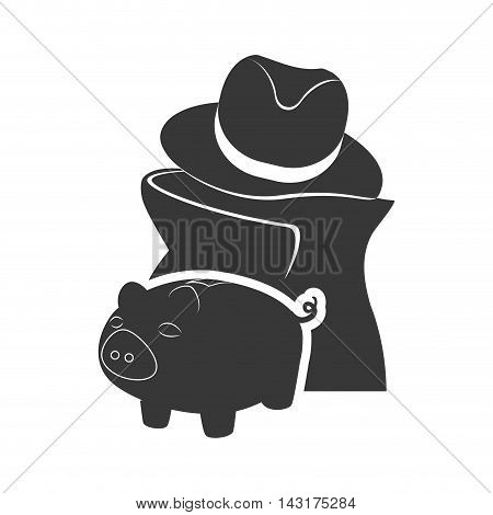 thief piggy money financial commerce icon. Flat and Isolated design. Vector illustration