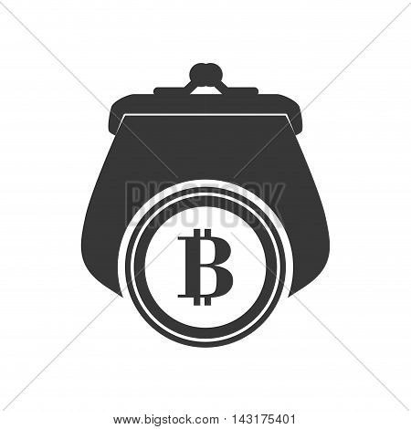 purse bitcoin money financial commerce icon. Flat and Isolated design. Vector illustration
