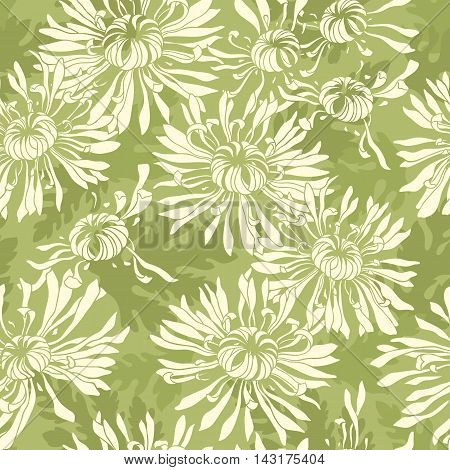 Light-green spot background with silhouettes of flowers and foliage. Vector seamless floral pattern