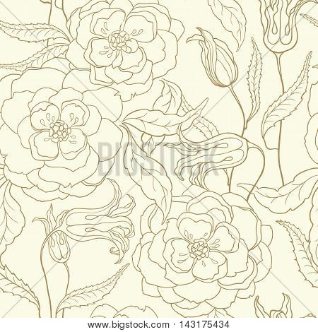 Vector seamless pattern with stylized peonies and clematis in golden color. Outline floral background