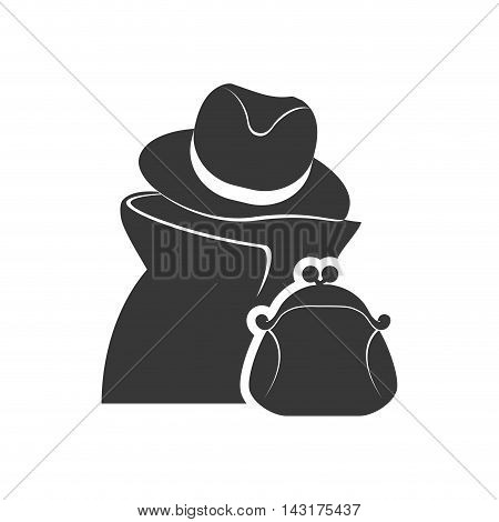 thief purse money financial commerce icon. Flat and Isolated design. Vector illustration