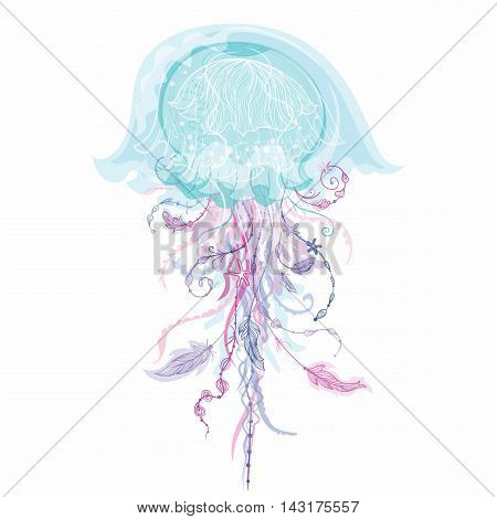 Creative sealife illustration with ornamental medusa with tribal elements - feathers and flowers on white background
