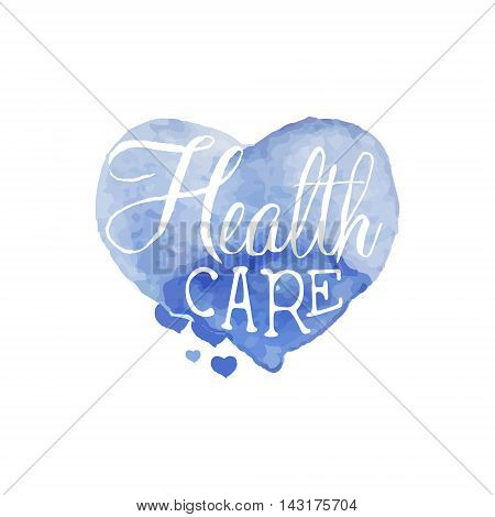 Health Care Beauty Promo Sign Watercolor Stylized Hand Drawn Logo With Text On White Background