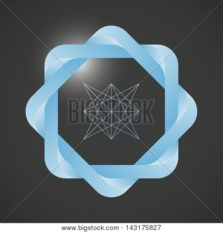 Light blue twisted frame and a schematic geometric shape. Optical illusion with a 3d effect. Design elements for poster cover invitation business card or web.