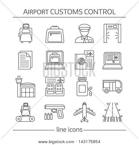 Airport customs control linear icons with luggage and documents security system waiting hall transportation  isolated vector illustration