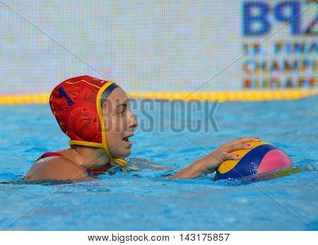 Budapest, Hungary - Jul 16, 2014. Spain's ESTER RAMOS Laura (ESP, 1) goalkeeper. The Waterpolo European Championship was held in Alfred Hajos Swimming Centre in 2014.