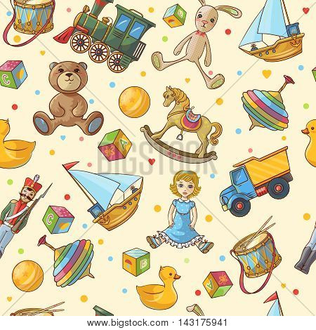Kids toys seamless pattern with isolated colored different toys icon set on light yellow background vector illustration