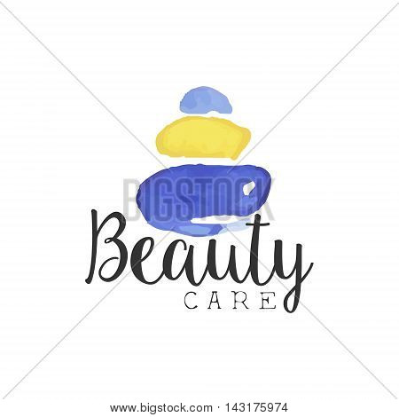 Beuty Care Promo Sign Watercolor Stylized Hand Drawn Logo With Text On White Background