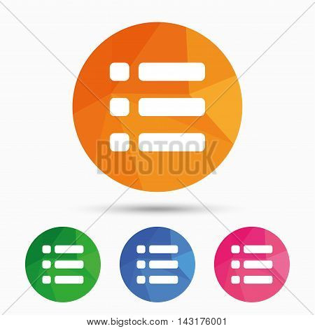 List sign icon. Content view option symbol. Triangular low poly button with flat icon. Vector