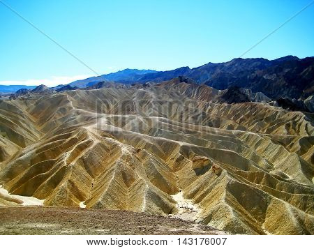Yellow badlands in Zabriskie Point at Death Valley National Park (California, USA)