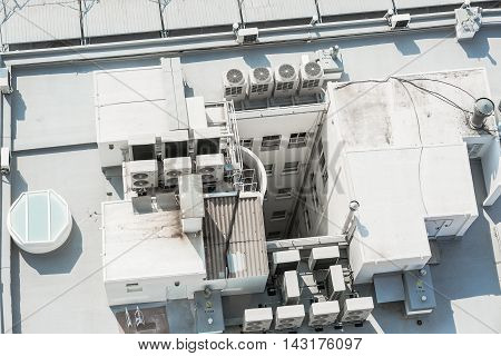 Air conditioning system on the roof of building