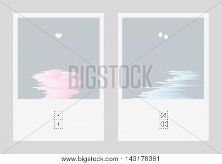 Diptych illustration with mild glitched gradient shapes. Short visual story about broken relationships. Abstract emotional expressive postcards.