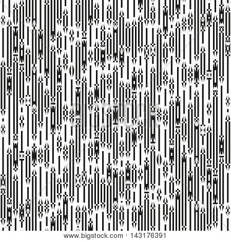Monochrome striped ornament. Black and white vertical lines and curves with an intersecting elements. Seamless pattern for a background.