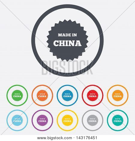 Made in China icon. Export production symbol. Product created in China sign. Round circle buttons with frame. Vector