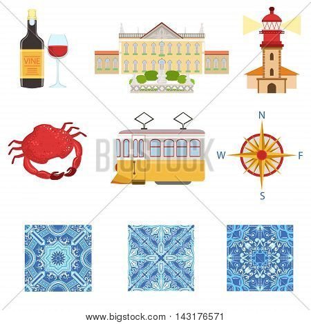 Collection Of Portuguese National Symbols Objects. The Famous Portuguese Azulejos Things, The Parliament, Lighthouse, Seafood, Wine Vector Illustration.