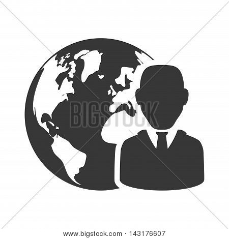 businessman planet silhouette necktie icon. Flat and Isolated design. Vector illustration