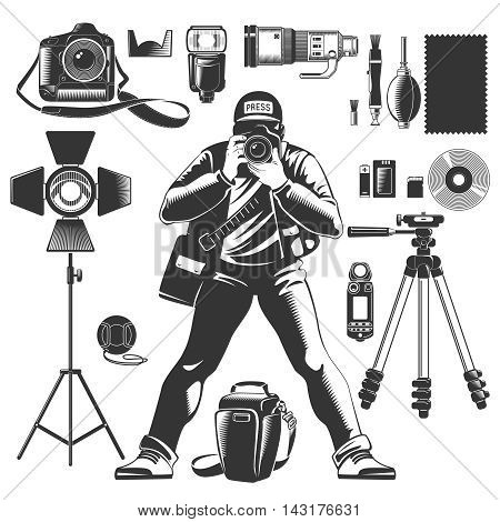 Black vintage photographer icon set with man and equipments elements for work vector illustration