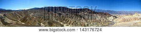 Zabriskie Point wide panorama in Amargosa Range at Death Valley National Park (California, USA)