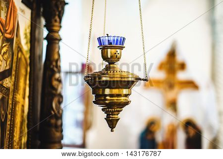 Gold church candle for meditation and pray