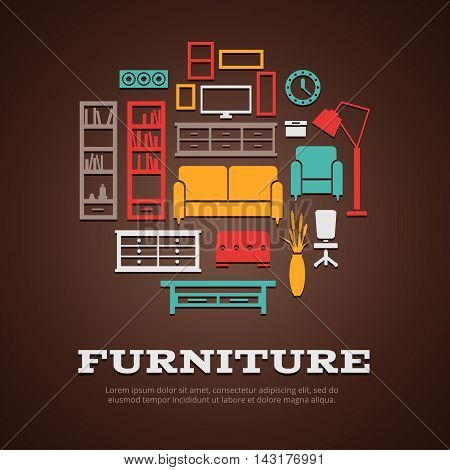 Flat furniture round composition with colored and isolated icon set on interior theme vector illustration