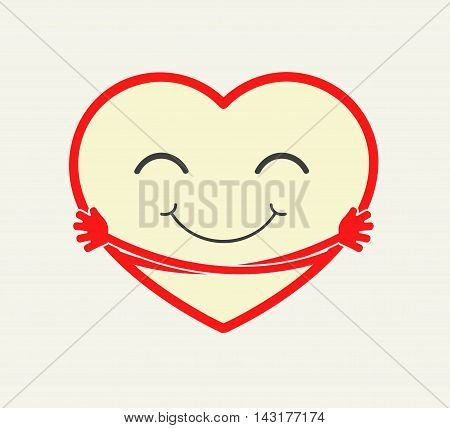 Cute cartoon heart hugging itself. Love care compation concept illstration. vector