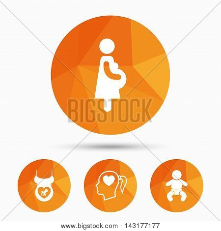 Maternity icons. Baby infant, pregnancy and dummy signs. Child pacifier symbols. Head with heart. Triangular low poly buttons with shadow. Vector
