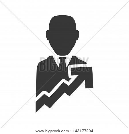 businessman arrow silhouette necktie icon. Flat and Isolated design. Vector illustration