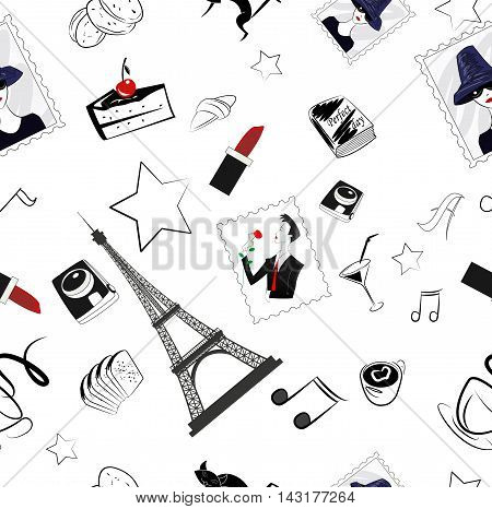 Vector hand drawn graphic fashion illustration with coffee cup camera tower cookies croissant photo. Excellent for the design of the packaging material obezhdy. Seamless pattern.