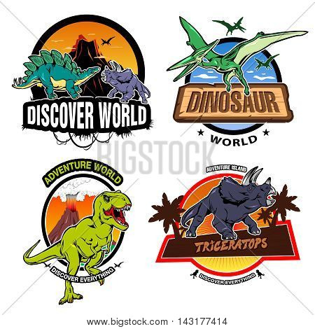 Dinosaur world colorful emblems of exhibitions or museums with tropical nature and extinct reptiles isolated vector illustration