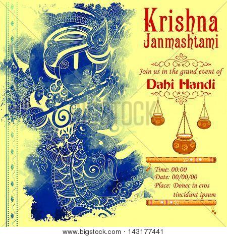 illustration of Lord Krishana in Happy Janmashtami