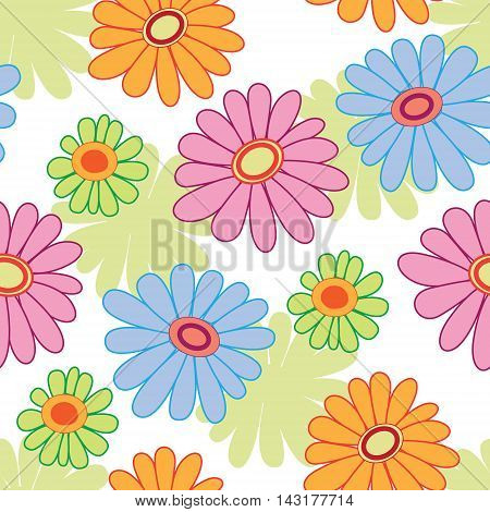 Floral seamless pattern on white. Vector illustration.