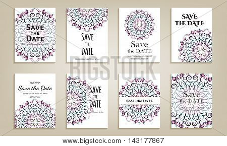 Set of cards save the date. Vintage template with bright violet circular pattern. Vector illustration for corporate identity individual cards form style.