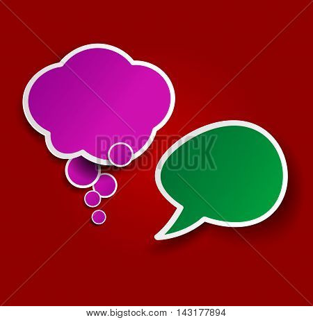 Two colorful sticky speech bubbles. Vector icons