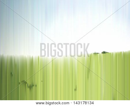 Sunny summer landscape with effect of a sliced photo. Green grass field and clear sky. Gradient background for a poster cover business card invitation banner or postcard.