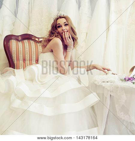 Cute beautiful woman fiancee on white background