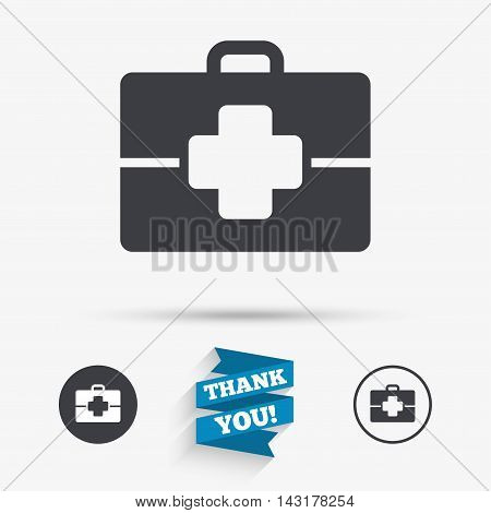 Medical case sign icon. Doctor symbol. Flat icons. Buttons with icons. Thank you ribbon. Vector