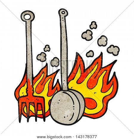 freehand drawn texture cartoon hot fireside tools